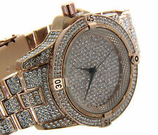 HIP HOP ICED OUT FULLY STONE TECHNO TREND ROSE GOLD WATCH NEW