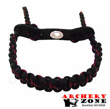 Black and Thin Red Line  Bow Paracord Wrist Sling Strap Archery W/ Leather