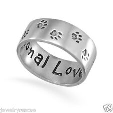 Paw Print Band Ring Unconditional Love .925 Sterling Silver Sz 8 Dog Cat Rescue