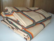 Vintage 70's MARTEX Tan Brown Rainbow Squares Flat & Fitted Full Size NEW