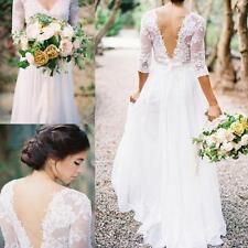 Bohemia Lace Chiffon Wedding Dresses V-neck 3/4 Long Sleeve Low Back Bridal Gown