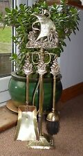 Vintage Ship Brass Fireplace Companion Set Brush Tongs Shovel Poke