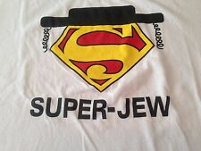 Super Jew T Shirt Tee  Red Yellow Superman Emblem With Black Hat And  Peyos 2XL