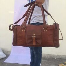 "20""Men's Genuine Goat Leather Shoulder Bag Duffle Gym Travel Bags Luggage bag"