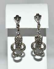 VINTAGE JEWELLERY ART DECO EARRING LOVELY ORIGINAL DESIGN SET WITH MARCASITE