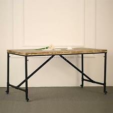 Antique Industrial Dining Table Solid Pine Wood Top Metal Furniture Kitchen O5E6