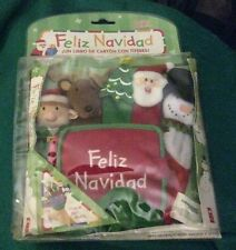Feliz Navidad Puppet Board Book With Finger Puppets Cover New