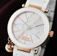 Vivienne Westwood VV067RSBK Women's ORB Pendant Logo White Ceramic Fashion Watch