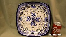 """364M Tenneco Puebla Hand Made 12"""" Square Pottery Plate Cobalt Blue Signed Medina"""