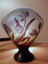 Vase EMILE GALLE Nancy patte verre décor floral dégagé acide art nouveau