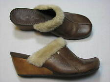 8.5 M Baretraps Ladies Shoes Mules Brown Leather Clogs Wedge Heel Faux Womens