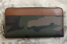 NWTCoach Men's Accordion Wallet In Camo Coated Canvas Green Camouflage F75099