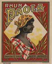 """""""RHUM PAOLA / Importé par Albert JARRAUD"""" Etiquette-chromo originale début 1900"""