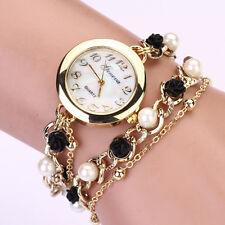 Femmes Montre Geneva Perle Fleur Chaîne Bracelet Watch Poignet Quartz Cadran