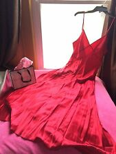 Victoria's Secret Red Sexy 100% Silk Long Dress Gown M NWT *Free Shipping