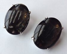 VINTAGE SCHIAPARELLI SIGNED BLACK RHINESTONE EARRINGS