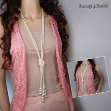 Hot Popular Women White Artificial Pearls Long Knot Chain Charms Necklace B09