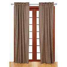 Drapery Panel Pair Black and Tan Gingham Check Window Treatment