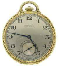 Vintage Hamilton 922 Mechanical 23J 12S Pocket Watch Etched Solid 14k Gold Case