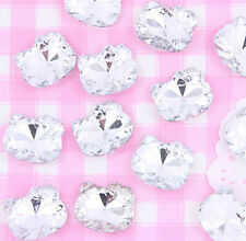 10 x mignon kitty argent strass gems chatons cabochons artisanat decoden kawaii