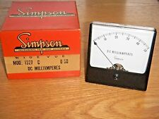 "Vintage Simpson Model 1327 Panel Meter  0-50 DC Milliamperes  3 1/2"" Dia NOS"