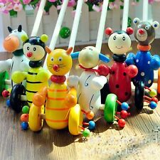 Colorful Wooden Kids Developmental Toy Animal Pattern Baby Push Along Walker Toy