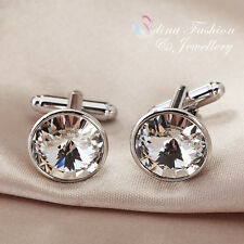 18K White Gold Plated Swarovski Element Round Cut Clear Men`s Cufflinks