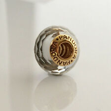 Pandora Fascinating White Murano Glass Charm 24K Gold Plated 791070 Authentic