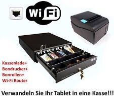 Kassen-Set: Kassenlade Geldlade + LAN Bondrucker mit Bonrollen + Wi-Fi Router