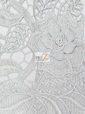 ROSEMARY EMBOSSED 3D FLORAL GUIPURE LACE FABRIC - Silver - BY YARD DRESS DECOR