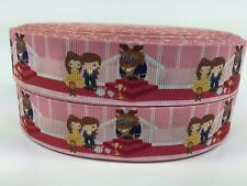 "BTY 1"" Disney Princess Belle & Beast Kids Grosgrain Ribbon Hair Bows Lisa"