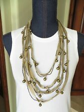 4 Multi Strand Necklace Kaki Cord and Gold Finish Chain and Beads New