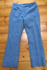 Boden 100% Lambs Wool Trousers Blue Check Classic Fit Sz 12R
