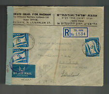 1949 Tel Aviv Israel Cover to Switzerland Censored Orthodox Settlers Company