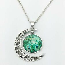 Vintage Peacock Cabochon Silver plated chain necklace pendants Moon pendant