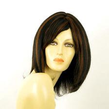 perruque femme 100% cheveux naturel mi-long méchée noir/cuivré SEVERINE 1b30