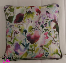 Voyage Nelia Linen Silver Velvet Cushion Cover 35x35 Piped  maison style