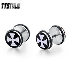 TTstyle 10mm Clear Epoxy Cross Stainless Steel Fake Ear Plug Earrings A Pair