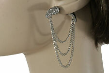 Women Fashion Silver Metal Earrings Set Bull Long Horns Double Sides Rhinestones