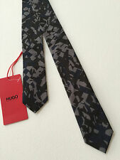 HUGO, HUGO BOSS COTTON GREY/BLACK CAMO PRINT SKINNY TIE MADE IN ITALY BNWT