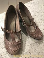 Hush Puppies Vintage 60s Mod Style Ladies Grey Leather Lonna T Bar Shoes UK 4
