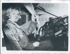 1960 Pretty 18 Year Old Swedish Pilot Inger Eriksson in Cockpit Press Photo