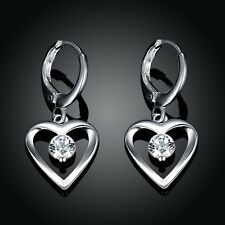New 925 Sterling Silver SF Hollow Love Heart Cubic Zirconia Lever Back Earrings