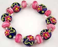 15 Lampwork Handmade Glass Beads Cobalt Blue Pink Flower Loose Rondelle Spacer