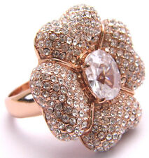 Sz10 Ring Large 4 Leaf Clover or Flower w/ Clear CZ Stones Pink Tone Metal