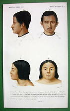 HUMAN RACE Bengal Youth & Lake Huron Indian Chief - H/C Color Antique Print
