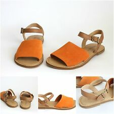 TIMBERLAND SANDALS Brown & Orange Suede & Leather Flat Shoes UK Size 4.5 EU 37.5