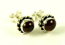 **BEAUTIFUL 925 STERLING SILVER CABOCHON ALMADINE GARNET STUD EARRINGS**