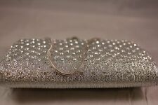 Silver Tone clear crystal stone encrusted  Evening Clutch with wrist chain