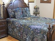 Blue Decorative Indian Style Beaded Bedding Sari Luxury Duvet Pillow Shams King
